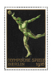 A Shot Putter Germany 1916 Berlin Olympic Games Poster Stamp  Unused