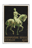 A Naked Rider On Horseback Germany 1916 Berlin Olympic Games Poster Stamp  Unused