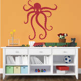 Octopus Red Wall Decal