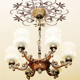 Flowering Chandelier Medallion Brown Wall Decal