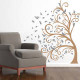 Curly Tree  Leaves & Birds in the Wind Grey Wall Decal