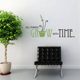 All Things Grow Quote Olive Wall Decal