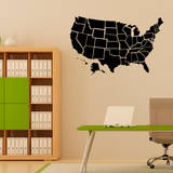 Black US Map Wall Decal