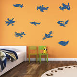 Fly Away Airplanes Genetian Wall Decal
