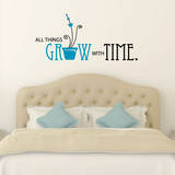 All Things Grow Quote Teal Wall Decal