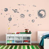 Solar System Grey Wall Decal