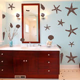 Seashells by the Seashore Brown Wall Decal