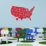 Red US Map Wall Decal