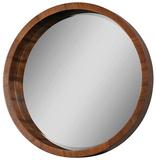 Lucerne Solid Walnut Veneer Round Mirror
