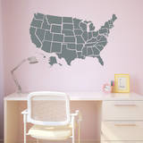 Grey US Map Wall Decal