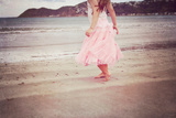 Girl in Tulle At Beach Edge 2