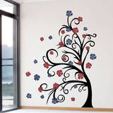 Curly Tree & Flowers in the Wind Brown Wall Decal