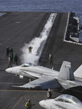 An FA-18D Hornet Taxis To the Catapult Aboard the Aircraft Carrier USS Ronald Reagan