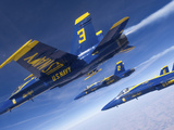 F/A-18 Hornets of the Blue Angels Fly in Formation Over Colorado