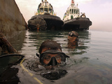Navy Divers Inspect a Pier at the Port of Djibouti City