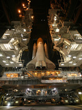 Space Shuttle Endeavour inside the Vehicle Assembly Building at Kennedy Space Center