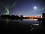 Aurora Borealis Over Long Lake  Northwest Territories  Canada