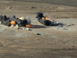 Hard Target Penetrating Bombs Explode at the Gordia Range Off the Coast of Djibouti