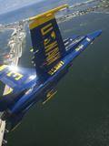 An F/A-18 Hornet of the Blue Angels Over Pensacola Beach  Florida
