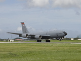 A KC-135 Stratotanker Lands On the Runway at Kadena Air Base  Japan