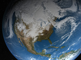 Ful Earth Showing Simulated Clouds Over North America