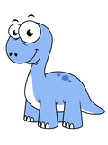 Cute Illustration of a Brontosaurus