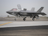 An F-35B Lightning II Joint Strike Fighter Prepares To Make a Vertical Landing