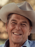 Digitally Restored Vector Portrait of President Ronald Reagan Wearing a Cowboy Hat
