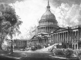 Digitally Restored Vintage Print of the US Capitol Building