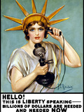 Vintage World War I Poster of the Statue of Liberty Talking On the Telephone