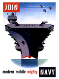 Vintage World War II Poster of An Aircraft Carrier with Three Planes Flying Overhead