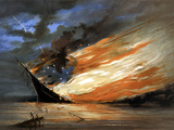 Vintage Civil War Painting of a Warship Burning in a Calm Sea