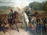 Vintage Civil War Painting of Gernal Lee And Jackson On Horseback