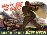 World War II Poster of Airborne Troops Parachuting Into Battle