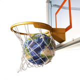 3D Rendering of Planet Earth Falling Into a Basketball Hoop