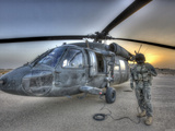 High Dynamic Range Image of a Door Gunner Beside a UH-60 Black Hawk
