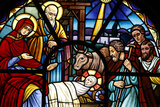 Stained Glass Window Depicting the Nativity