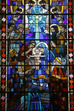 Stained Glass in Notre Dame Du Rosaire Catholic Church: Nativity Scene