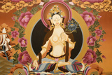 Thangka Depicting White Tara Goddess  Buddhist Symbol of Long Life