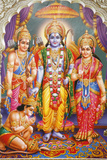 Picture of Hindu Gods Laksman  Rama  Sita  and Hanuman
