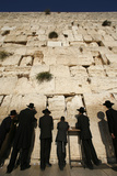 Ultra-Orthodox Jewish Men Pray at the Western Wall in the Old City of Jerusalem
