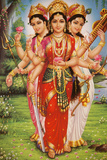 Picture of Hindu Goddesses Parvati  Lakshmi and Saraswati