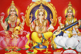 Hindu Godess Laxmi  God Ganesh and Goddess Saraswati (Left to Right)