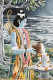 Rama Pouring Milk over Shiva's Lingam  Pashupatinah