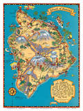 Hawaiian Island of Hawaii (Big Island) Map - Hawaii Tourist Bureau