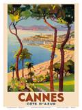 Cannes - Côte d'Azur, France - French Riviera Reproduction d'art par Lucien Peri
