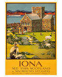 Iona - See this Scotland by MacBraynes Steamers - Celtic Cross at Iona Abbey