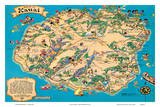 Hawaiian Island of Kauai Map - Hawaii Tourist Bureau
