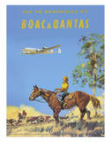 Fly to Australia by British Overseas Airways Corporation (BOAC) and Qantas Airlines