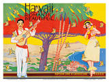 Matson Lines - Hawaii Romantic Beautiful - Art Deco Cover for Hawaiian Travel Brochure